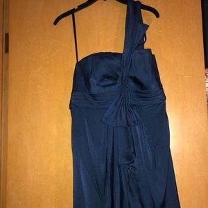 Off shoulder blue short formal dress
